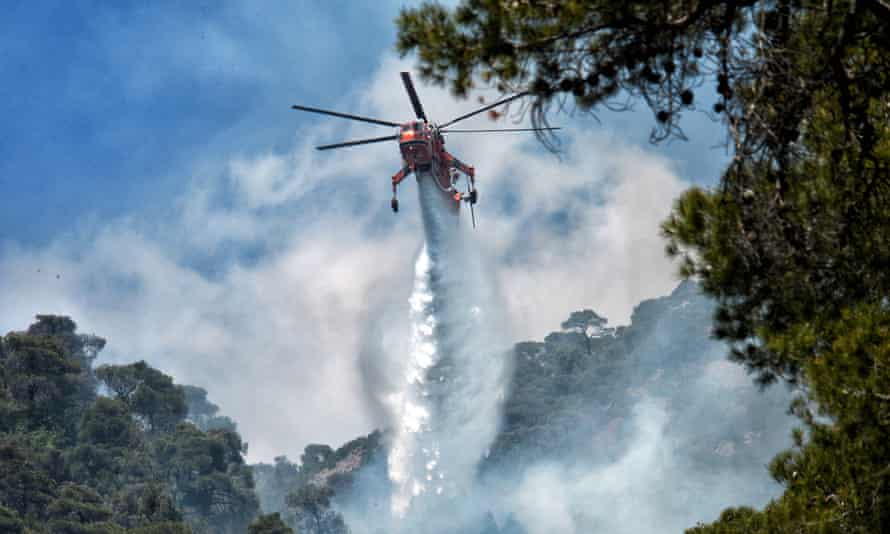 A wildfire raging in Gerania, Greece, May 2021.