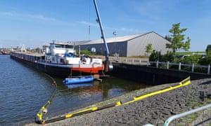 A cargo ship housing a drugs lab in Moerdijk, the Netherlands