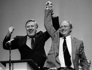 Neil Kinnock and Roy Hattersley on the day Kinnock became leader of the Labour party in 1983