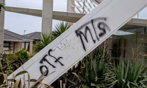 The vandalised Ecoville Community Park tagged with 'MTS', a reference to 'Menace to Society', a loosely collected group of Sudanese and other teenagers that has been linked to a number of public order offences over the past six months in Melbourne.