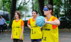 Blind folded netball is another Pop in the City option