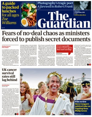 Guardian front page, Thursday 12 September 2019