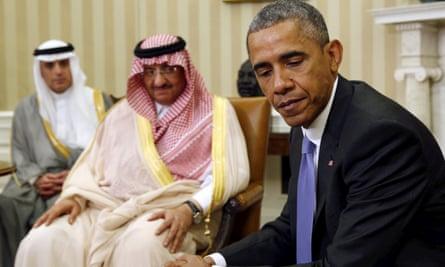 Barack Obama, Saudi Crown Prince Mohammed bin Nayef, center, and Foreign Minister Adel Al Jubeir
