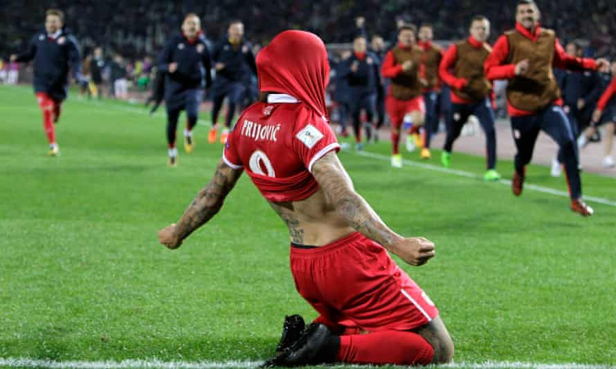 Aleksandar Prijovic celebrates after his goal made sure of Serbia's place at next summer's World Cup.