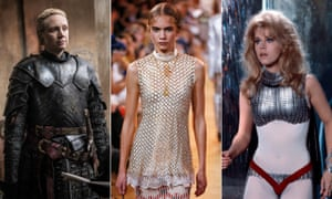 From left, Game of Thrones' Brienne of Tarth played by Gwendoline Christie, Paco Rabanne on the catwalk, and Jane Fonda in 1968 film Barbarella