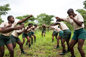 International Anti-Poaching Foundation (IAPF) Founder and CEO Damien Mander fine-tunes the unarmed combat skills of qualified rangers