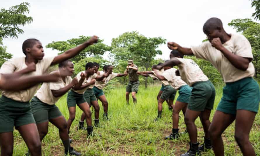 International Anti-Poaching Foundation (IAPF) founder Damien Mander training rangers in unarmed combat.