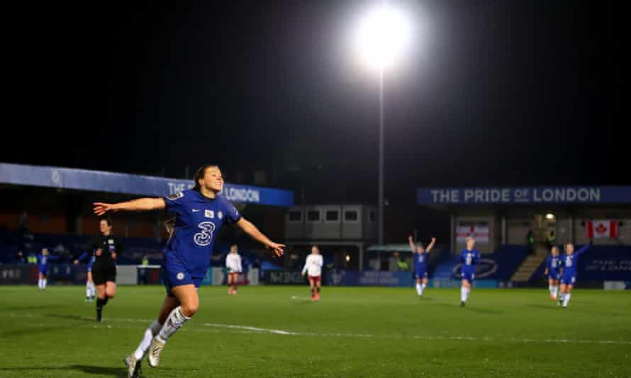 Fran Kirby celebrates a goal for Chelsea against Arsenal earlier this month.