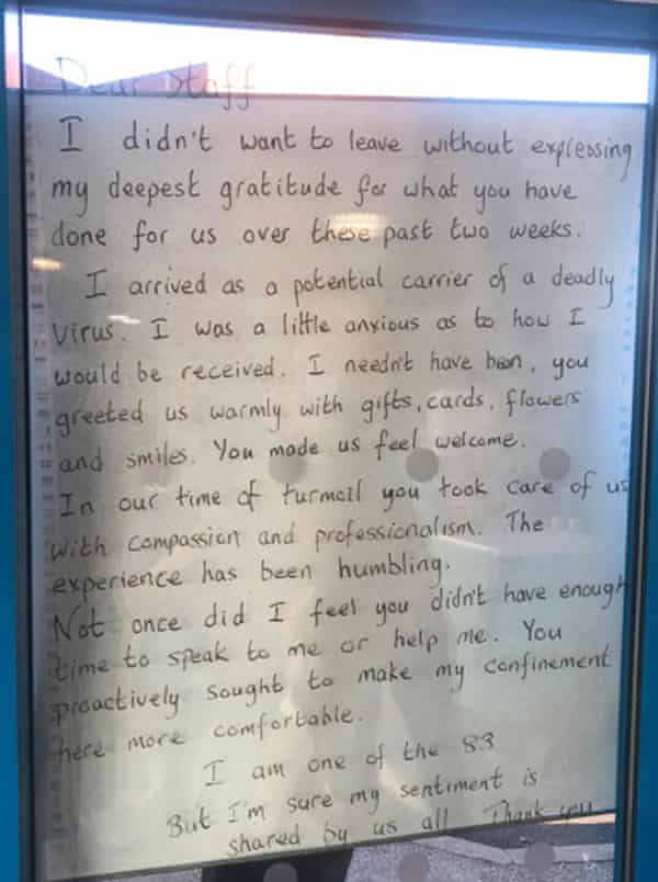 A message of thanks written to staff from an evacuee.
