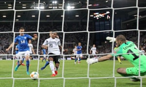 Serge Gnabry scores his second, and Germany's sixth goal.