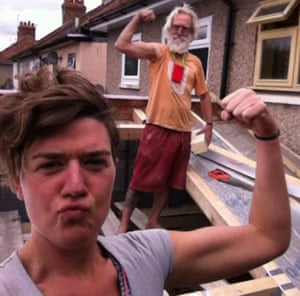 Nell Frizzell and father working on construction site