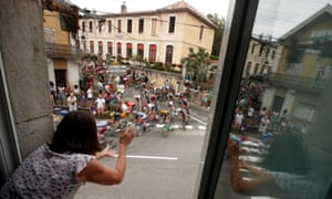 The peleton on the move during the 15th stage of the Tour de France between Limoux and Foix Prats d'Albis in France