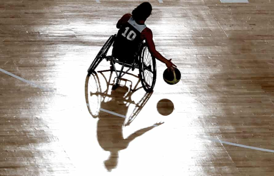 Wheelchair Basketball training session at the Olympic Arena.