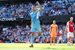Ferran Torres of Manchester City celebrates after scoring his sides fifth goal.
