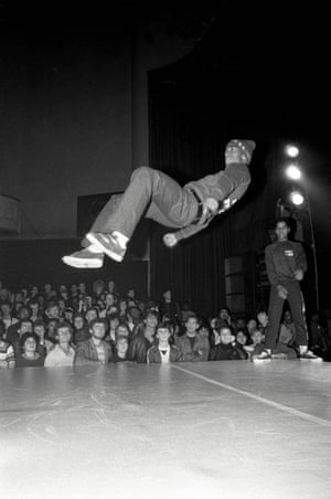 Break Dancer from the Rock Steady Crew at The Venue, London, November 1982, by David CorioDavid Corio was covering one of the first London hiphop events, featuring the American breaking and hip hop group Rock Steady Crew, and shot Wayne 'Frosty Freeze' Frost mid-air, saying, 'This show was probably the first time almost anyone in the audience had seen people spinning round on their backs and heads and almost floating in the air. I love the look of wonderment on the faces in the crowd'