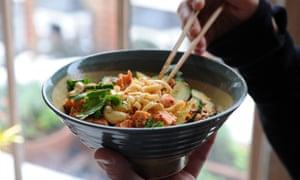Salmon cashew noodle bowl.