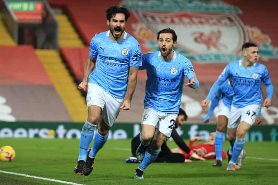 Gundogan celebrates scoring the opener during the recent win against Liverpool at Anfield.