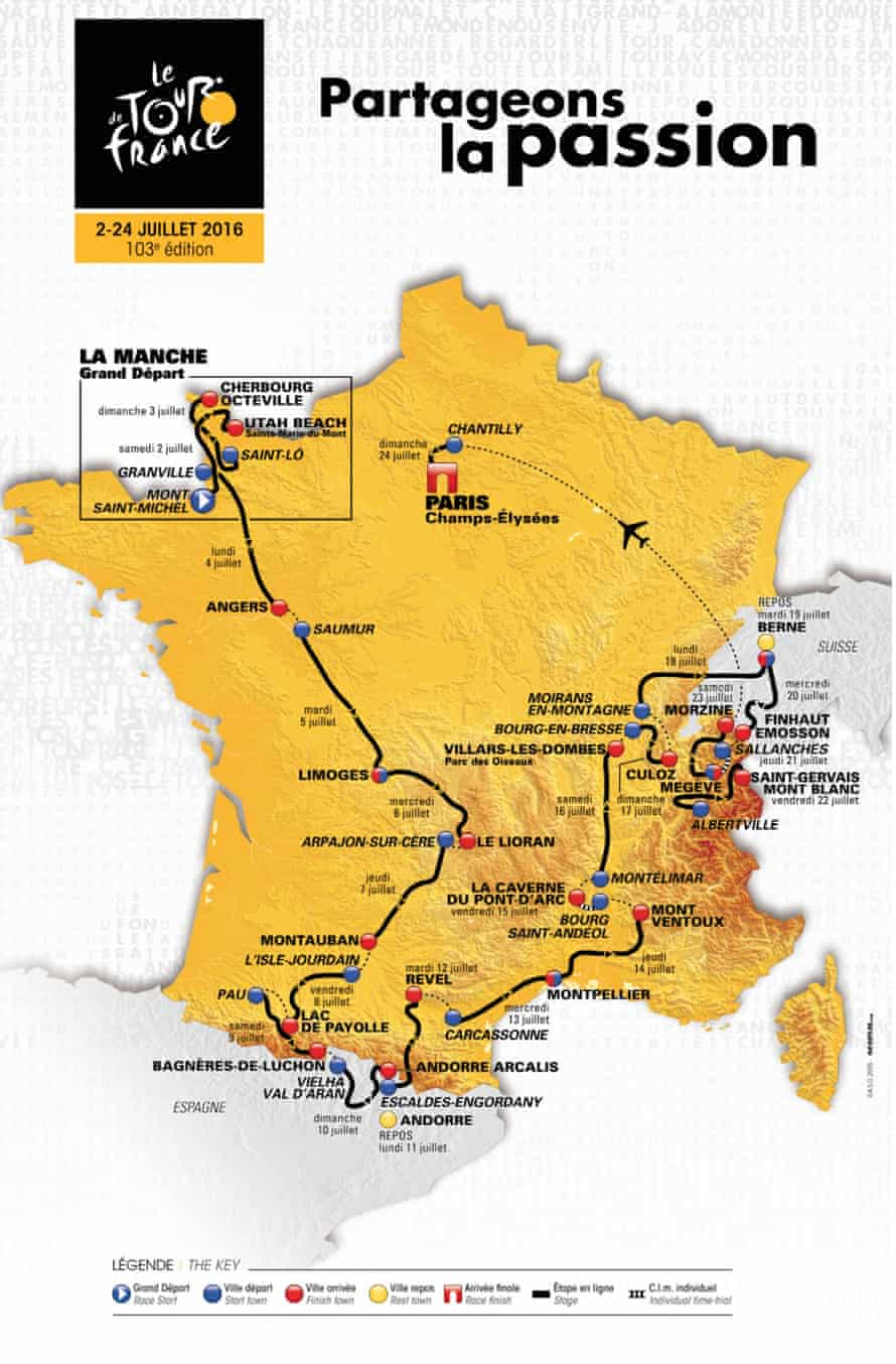 This photo provided by ASO (Amaury Sport Organisation) shows the official map of the 2016 Tour de France.