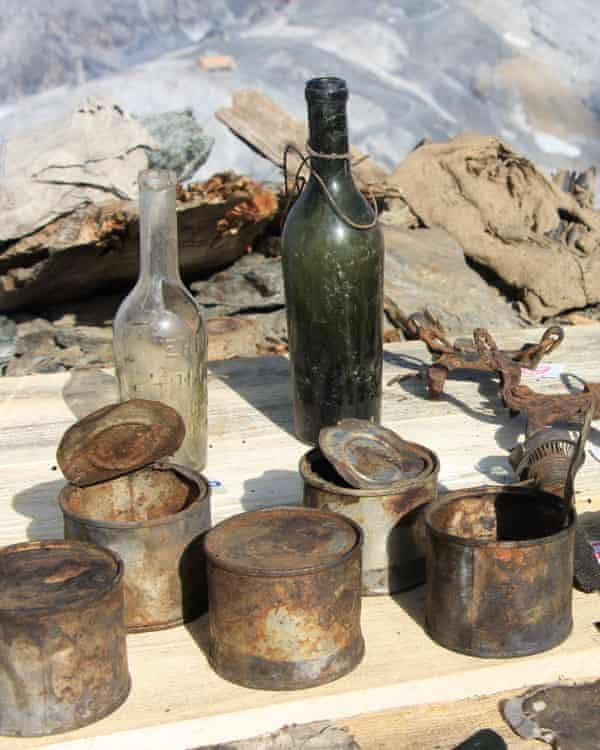 Bottles and tins taken from the cave barracks.
