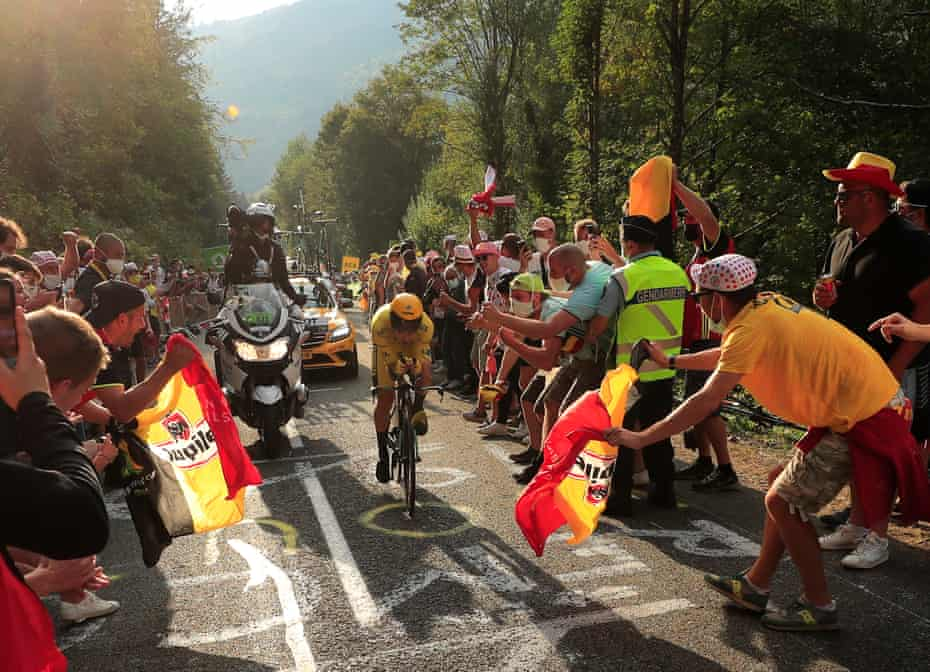 Slovenian rider Primoz Roglic of Team Jumbo-Visma wears the overall leader's yellow jersey during the 20th stage of the 107th edition of the Tour de France, an individual time trial over 36.2km from Lure to La Planche des Belles Filles.