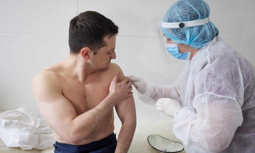 Volodymyr Zelenskiy receives his Covid vaccine in eastern Ukraine.
