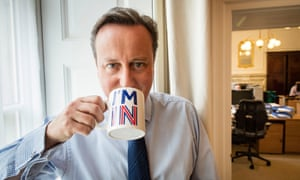 David Cameron poses with a remain-supporting mug at 10 Downing Street before the referendum.