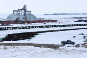 A depot in Gascoyne, North Dakota, used to store pipes for TransCanada's planned Keystone XL oil pipeline.