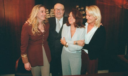Jean-Marie Le Pen with his wife Jany and daughters Marine and Yann in 2002.