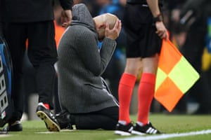 Pep Guardiola manager of Manchester City reacts as Raheem Sterling's goal is disallowed via VAR.