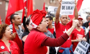 Supporters of Luiz Inácio Lula da Silva protest against his conviction, which he seeks to overturn, in São Paulo.