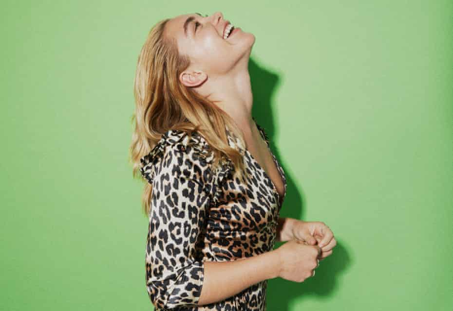 Actor Florence Pugh wearing leopardprint dress