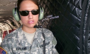 Emily Vorland on board a CH-47 helicopter at Fort Hood.