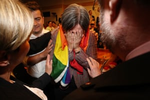 Senator Penny Wong breaks down after the announcement of the 'yes' vote in the same sex marriage survey on November 15. Of the Australian public, 61.6 per cent of people voted 'yes' and 38.4 per cent of people voted 'no' in the postal ballot.