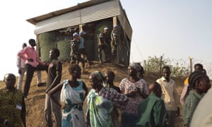 People displaced by the fighting in South Sudan arrive at the Unmiss compound in Juba.