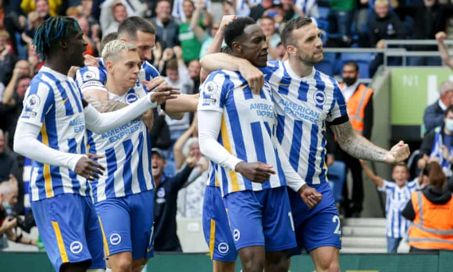 Danny Welbeck is congratulated by his Brighton teammates after he scored the second goal in the 2-1 win over Leicester