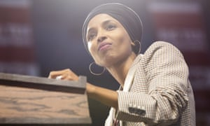 Ilhan Omar introduces Bernie Sanders at a rally in Minneapolis earlier this month.