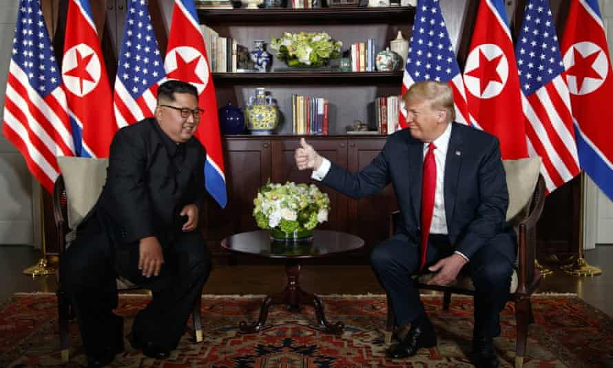 President Trump and Kim Jong-un held their first summit in June 2018. Trump says sanctions on Pyongyang are still 'on in full'.