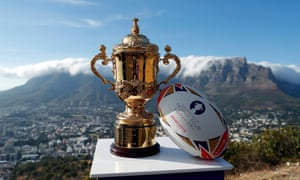 The Webb Ellis Cup in Table Mountain National Park on day one of the Rugby World Cup trophy tour last week.