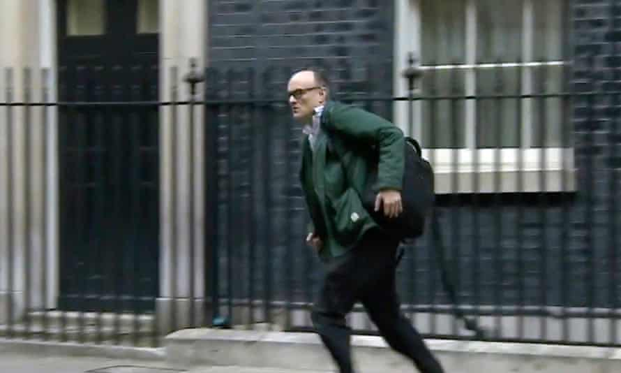 Dominic Cummings seen running from 10 Downing Street shortly after it was announced that Boris Johnson had coronavirus.
