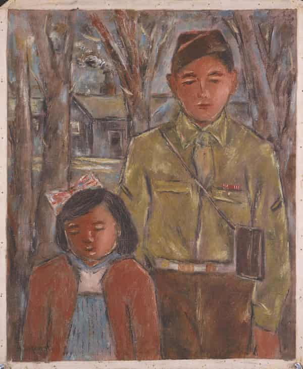 Denson, Arkansa by Henry Sugimoto 1943. A young soldier, Sugimoto's younger brother Ralph, stands on the right, next to a little girl, Sugimoto's daughter Madeleine Sumile.