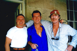 Billy Thorpe, Jimmy Barnes and Bryan Brown at an Australia Day barbecue at Brown's house