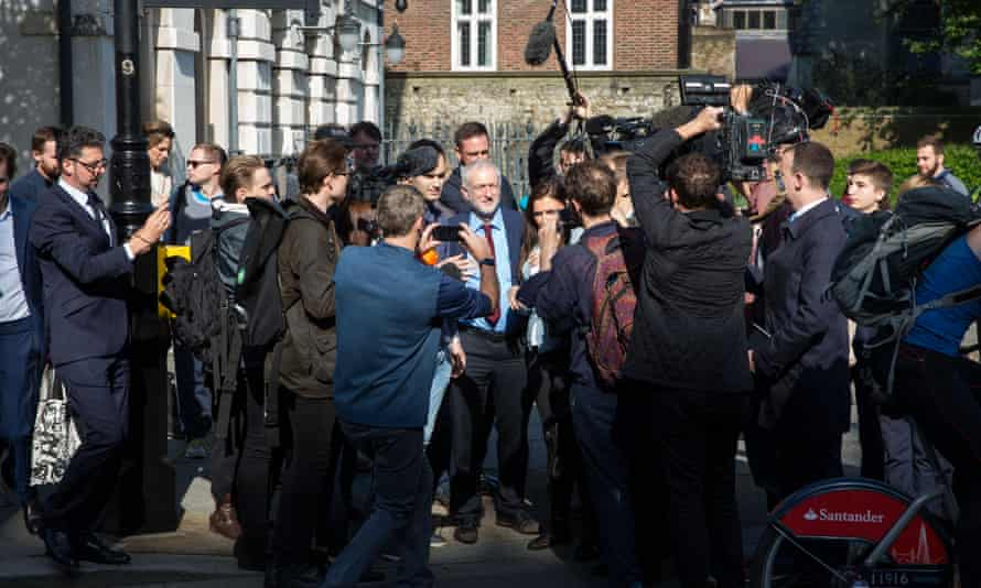 Jeremy Corbyn, then-Labour leader, mobbed by reporters on 24 June 2016, which coincided with Jessica Elgot's first week in the lobby.