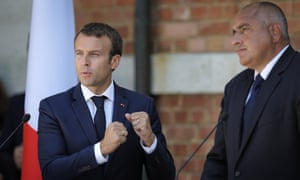 Emmanuel Macron gestures during a press conference with Bulgarian prime minister, Bojko Borisov.