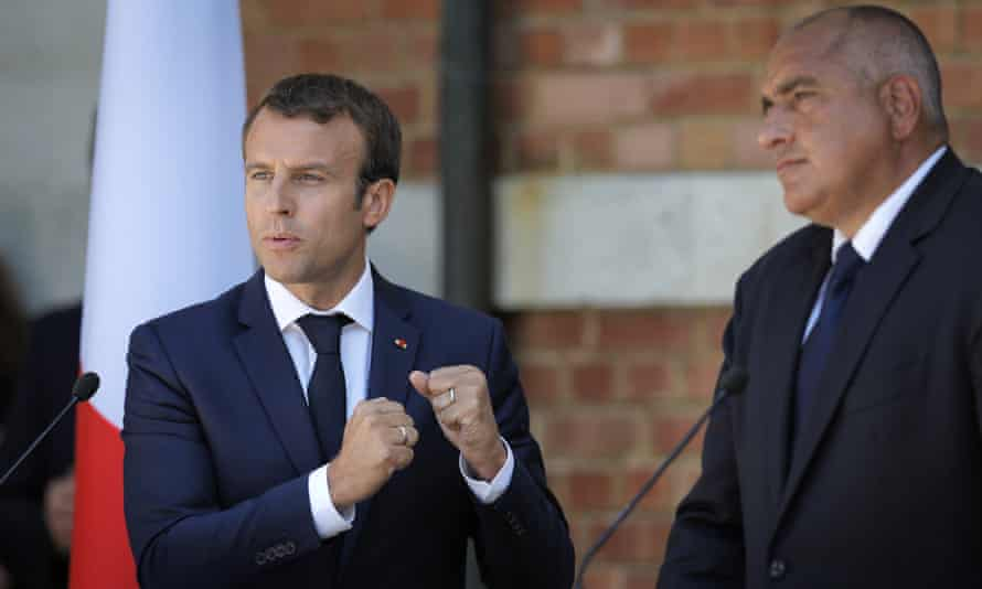 Emmanuel Macron gestures during a press conference with Bulgarian prime minister, Bojko Borisov.