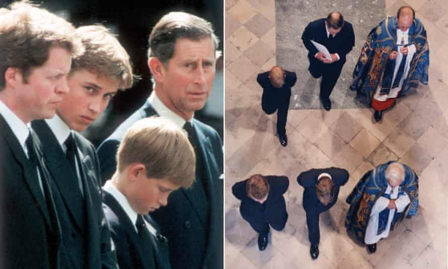 A montage of two photographs: the first showing Earl Spencer, William, Harry and Charles standing in a row with their heads bowed, with William looking at the camera; the second, a shot of the family from directly overhead walking through Westminster Abbey