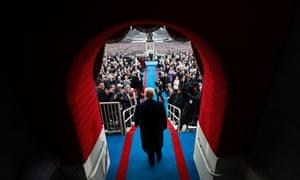 'A new era': Donald Trump arrives at his inauguration on Friday.