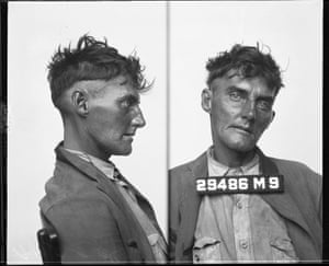 A booking photograph of a vagrant in the early 1930s