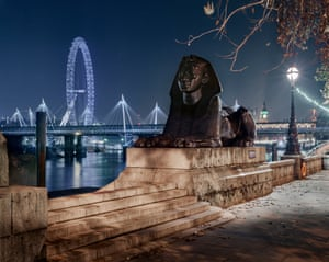 The London Eye seen across the Thames from Cleopatra's Needle