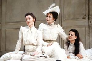 Lesley Manville (Varya), Judi Dench (Ranevskaya) and Miranda Foster (Anya) in Sam Mendes's 1989 production at the Aldwych theatre, London, designed by Paul Farnsworth.