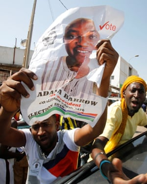 Supporters of President-elect Adama Barrow celebrate his election victory in Banjul.